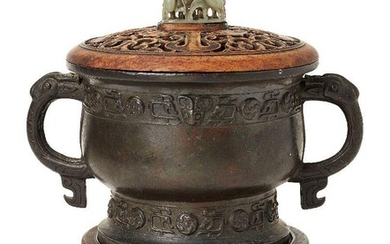 A Chinese archaistic bronze censer, gui, Ming dynasty, cast with...
