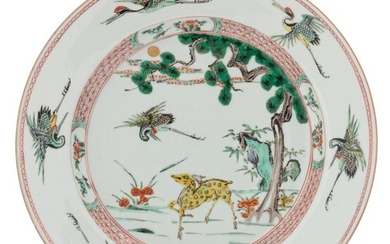 A Chinese famille verte plate, decorated with cranes,...