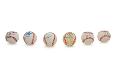 A Group of Six Hall of Fame Pitcher Signed Autograph