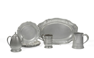 A LARGE GROUP OF AMERICAN, ENGLISH, AND CONTINENTAL PEWTER HOLLOWARE