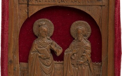 A MINIATURE ICON SHOWING ADRIAN AND NATALIA OF