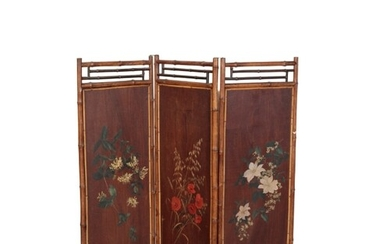 A PAINTED BAMBOO FOLDING SCREEN the front of each of the thr...