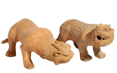 A PAIR OF CHINESE TERRACOTTA LIONS, HAN DYNASTY