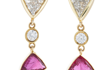 A PAIR OF DIAMOND, RUBY AND GOLD EARRINGS