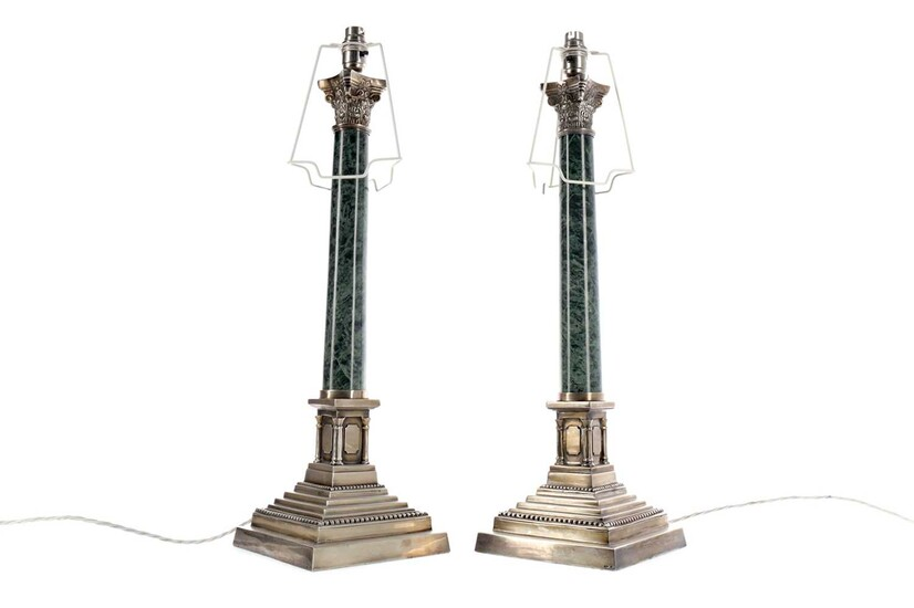 A PAIR OF EARLY 20TH CENTURY CORINTHIAN COLUMN TABLE LAMPS, ALONG WITH ANOTHER LAMP