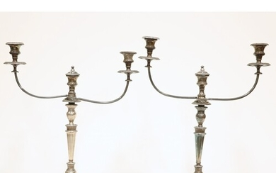 A PAIR OF OLD SHEFFIELD PLATE CANDELABRA, each with twin ree...