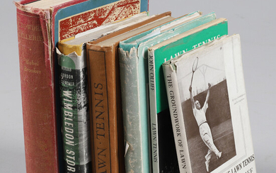 A QUANTITY OF BOOKS ON TENNIS.