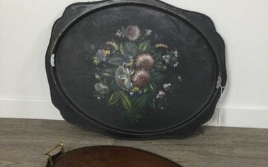 A VICTORIAN JAPANNED TEA TRAY AND ANOTHER SERVING TRAY