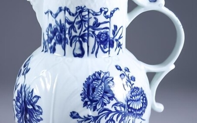 A Worcester Blue and White Porcelain Moulded Jug, Circa...