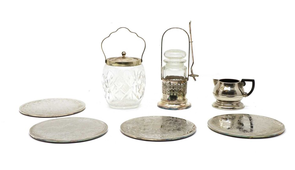 A collection of silver and silver plated items
