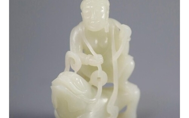 A good Chinese pale celadon jade group of Liu Hai and the th...