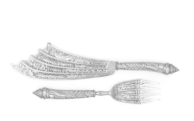 A good pair of Victorian silver cased fish servers