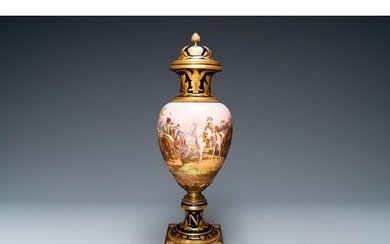 A large French Napoleonic Sèvres-style vase with gilded bron...