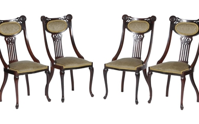 A pair of George II style carved mahogany side chairs