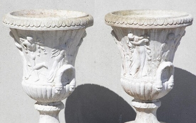 NOT SOLD. A pair of artificial stone garden vases, cast with women in classical ropes. Louis XVI style. 20th century. H. 83. Diam. 55 cm. (2) – Bruun Rasmussen Auctioneers of Fine Art