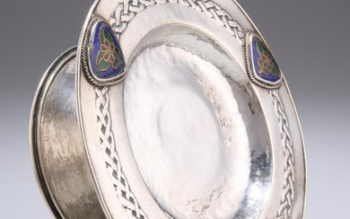 AN ARTS AND CRAFTS ENAMEL COMPORT, unmarked, in the