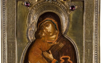 AN ICON SHOWING THE VOLOKOLAMSKAYA MOTHER OF GOD WITH RIZA...