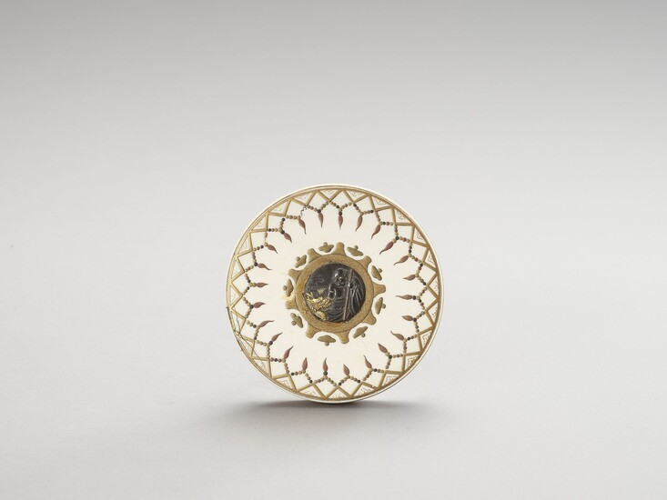 AN IVORY, METAL AND LACQUERED CIRCULAR LIDDED BOX