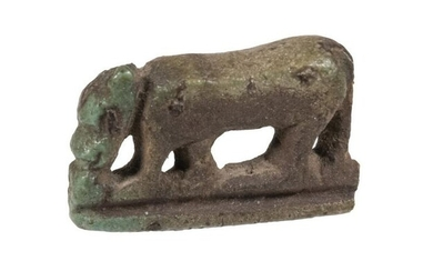 ANCIENT EGYPTIAN FAIENCE AMULET OF A JACKAL