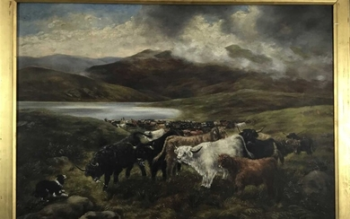 After Henry Garland (act. 1854-1890) oil on canvas, Sheepdog and highland cattle before a loch, indistinctly signed verso and inscribed 'After H Garland, Turning the drove'