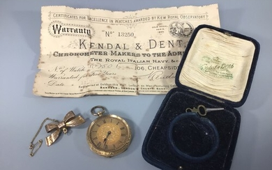 An 18ct gold cased pocket watch, gilt face with Roman numera...