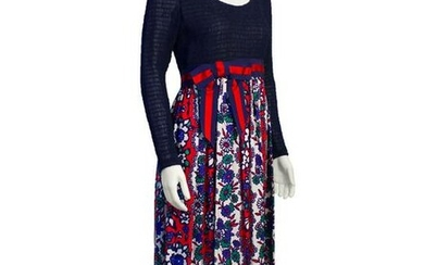 Anonymous Navy Blue and Red Maxi Dress