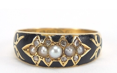 Antique 18ct gold, pearl, diamond and black enamel mourning ...