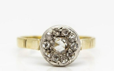 Antique Victorian 18K gold and Silver Diamond Ring