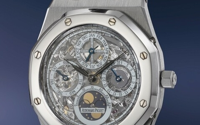 Audemars Piguet, Ref. 25829SP A superbly attractive, extremely rare and offered by the original owner stainless steel and platinum perpetual calendar wristwatch with moonphases, skeletonized dial, bracelet, guarantee and box, number 1 of a 25 pieces...