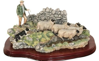 * Border Fine Arts 'The Crossing' (Shepherd, Sheep and Collie),...