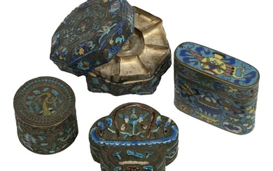 CHINESE LIDDED SILVER MINIATURE BOXES