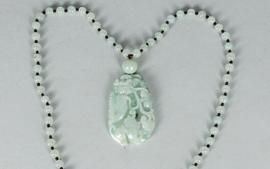 Chinese Jade Stone Carving with Necklace