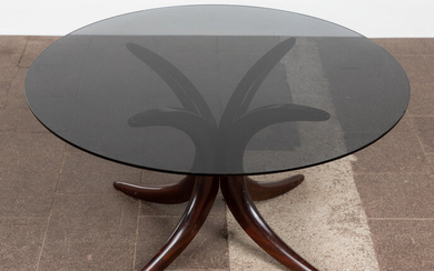 Coffee table / end table, beech, smoked glass, 1980s.