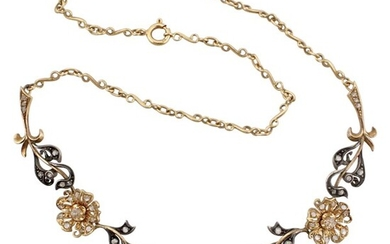DIAMOND, GOLD AND SILVER NECKLACE