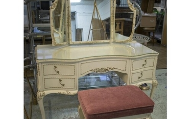 DRESSING TABLE, Louis XV style cream and gilt with triple mi...
