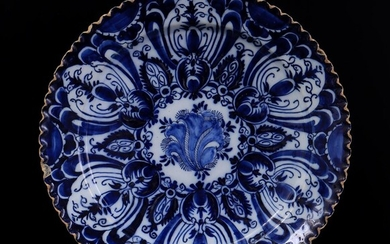 (-), Delft blue earthenware dish with pleated rim,...