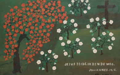 Dirk BOS (1890-1976)Jesus said I am the way, John 14:6Oilon panel.Signed and titled lower right.45 x 65 cm