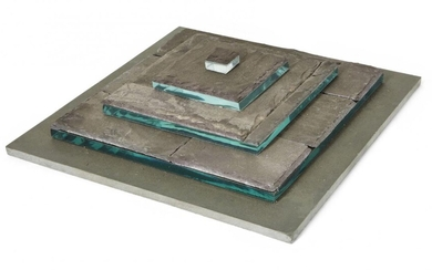 Donated to the Royal Society of Sculptors: Pauline Wittka-Jezewski MRSS, British b.1967 - Untitled, 1998; slate and glass, inscribed with signature and dated underneath, H6.5 x W30 x D30 cm (ARR)