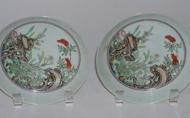 Excellent Pair Chinese Qing Porcelain Dishes