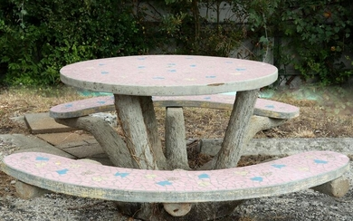 FRENCH FAUX BOIS & MOSAIC TABLE W/ TWO BENCHES