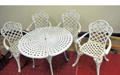 Five piece cast iron garden or patio suite - round table and...