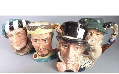Four hand-decorated Royal Doulton porcelain character jugs c...