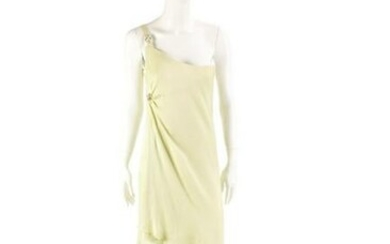 GIANNI VERSACE Pastel green dress, one shoulder with