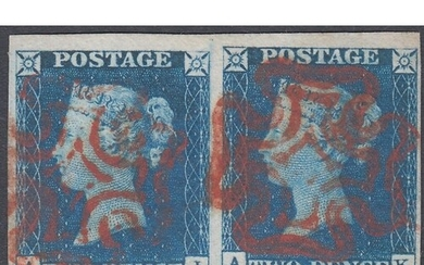 GREAT BRITAIN STAMPS 1840 2d Bright Blue, superb four margin...
