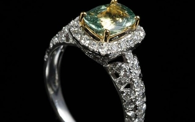 Gold, Green Sapphire and Diamond Ring