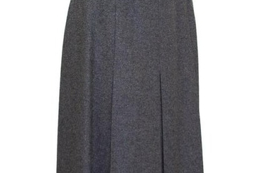 Hermes Grey Wool Skirt with Leather Detail