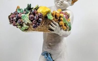Italian Pottery Figure with Floral Bowl.