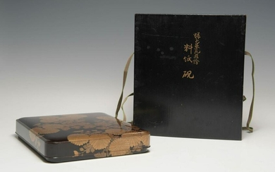 Japanese Gilt Lacquer Suzuribako in a Wood Box