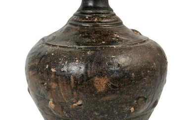 Large Ancient Khmer Pottery Brown Glazed Baluster Vase