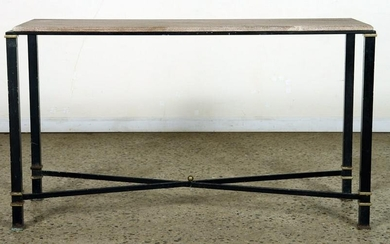 NEOCLASSICAL STYLE IRON BRONZE MARBLE TOP CONSOLE